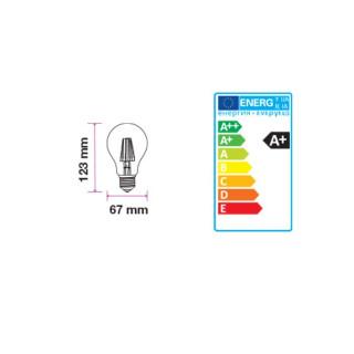 Disegno tecnico V-TAC VT-1981 Lampadina LED E27 10W Bulbo A67 Filamento