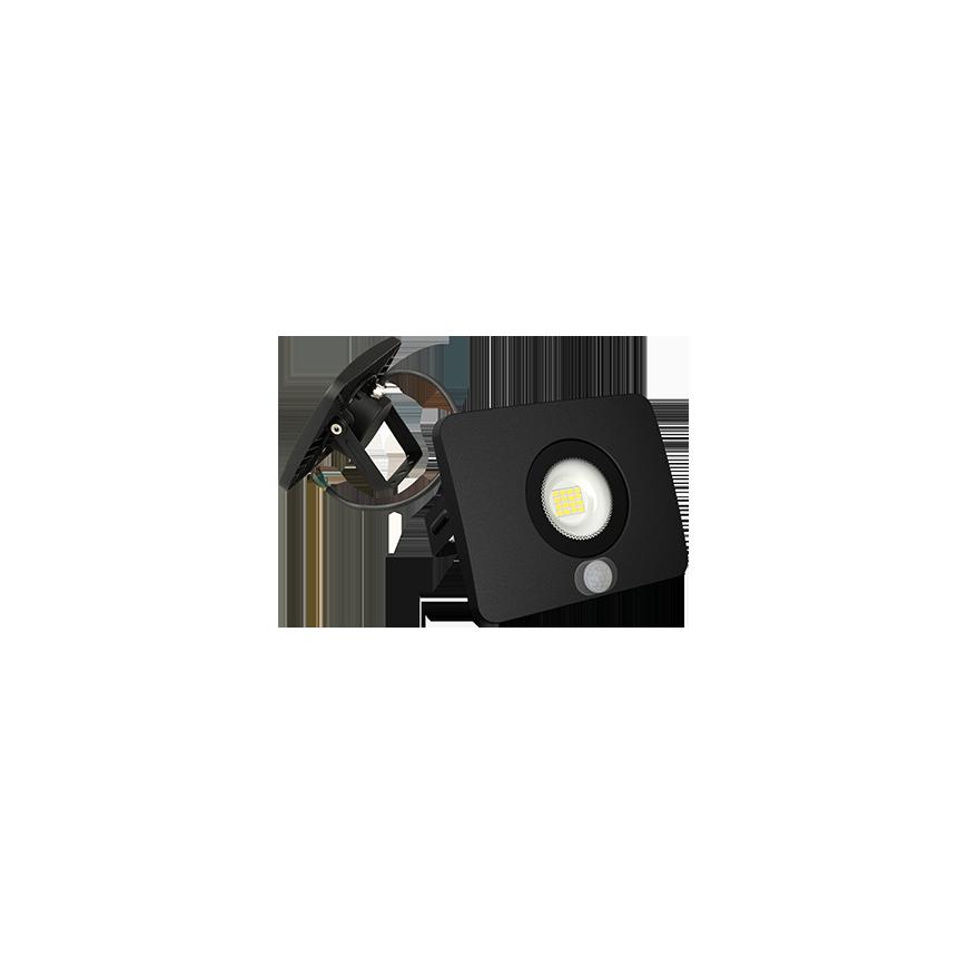 Faro Proiettore Led Smd 10w Ultra Sottile Da Esterno Nero Con Sensore 120
