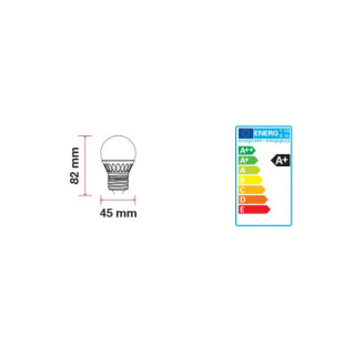 Disegno tecnico V-Tac VT-1830 Lampadina LED E27 4W Miniglobo G45