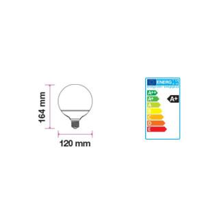 Disegno tecnico V-Tac VT-1883 Lampadina LED E27 13W Globo G120