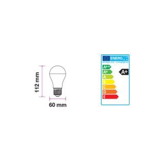 Disegno tecnico V-TAC VT-2011 Lampadina LED E27 9W Bulbo A60 Dimmerabile 3 Step