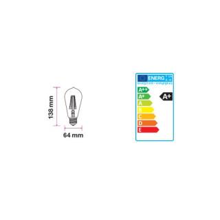 Disegno tecnico V-Tac VT-1966 Lampadina LED E27 6W Bulbo ST64 Filamento