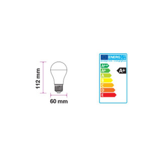 Disegno tecnico V-Tac VT-2016 Lampadina LED E27 9W Bulbo A60 con Sensore crepuscolare