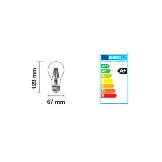 Disegno tecnico V-Tac VT-1958 Lampadina LED E27 8W Bulbo A67 Filamento Vintage