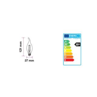 Disegno tecnico V-Tac VT-1997D Lampadina LED E14 4W Candela Fiamma Filamento Dimmerabile