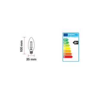 Disegno tecnico V-Tac VT-1985D Lampadina LED E14 4W Candela Spirale Filamento Dimmerabile