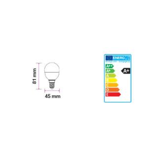 Disegno tecnico V-Tac VT-1819 Lampadina LED E14 4W Miniglobo P45