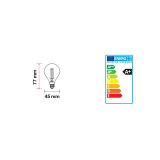 Disegno tecnico V-Tac VT-1996D Lampadina LED E14 4W Miniglobo P45 Filamento Dimmerabile