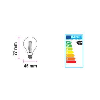 Disegno tecnico V-Tac VT-1835 Lampadina LED E14 4W Miniglobo P45 Filamento Effetto Ghiaccio