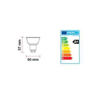 Disegno tecnico V-Tac VT-2886D Faretto LED GU10 7W SMD Spotlight Dimmerabile