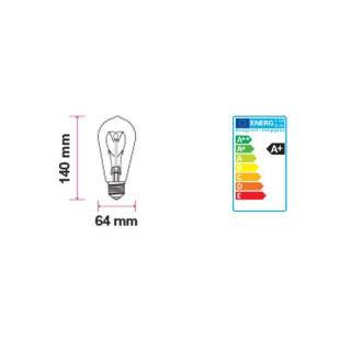 Disegno Tecnico - Lampadina LED E27 5W Bulbo ST64 Filamento Ambrata Vintage