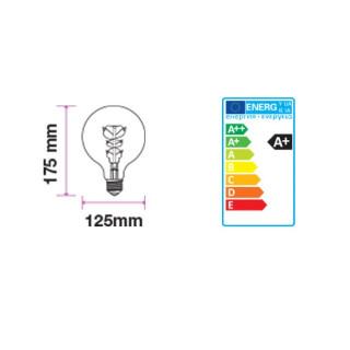 Disegno Tecnico - Lampadina LED E27 6W Globo G125 Filamento Ambrata Vintage Dimmerabile
