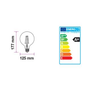 Disegno Tecnico - Lampadina LED E27 7W Globo G125 Frost Filamento Dimmerabile 300°