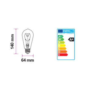 Disegno Tecnico Lampadina LED E27 5W Bulbo ST64 Filamento Ambrata Vintage 300°