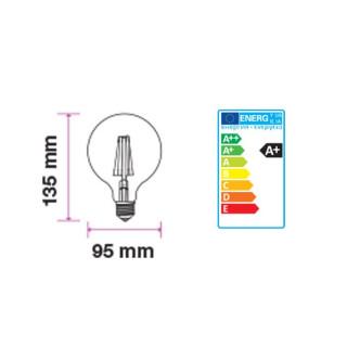 Disegno Tecnico - Lampadina LED E27 7W Globo G95 Frost Filamento 300°