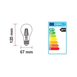 Disegno Tecnico - Lampadina LED E27 9W Bulbo A67 Filamento Effetto Ghiaccio