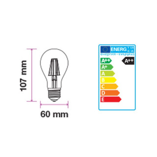 Disegno Tecnico - Lampadina LED E27 5W Bulbo A60 Filamento Effetto Ghiaccio