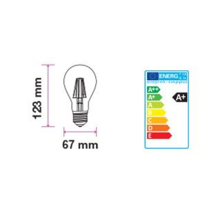 Disegno Tecnico -  Lampadina LED E27 10W Bulbo A67 Filamento Ambrata Vintage