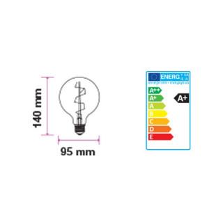Disegno Tecnico - Lampadina LED E27 7W Globo G95 Filamento Ambrata Vintage