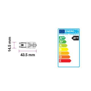 Disegno tecnico - V-Tac VT-2102 Lampadina LED G9 2W Bulbo IP44 - SKU 7337 / 7338 / 7339