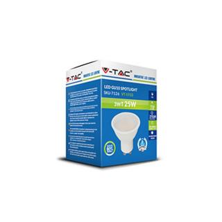 Confezione - V-TAC VT-1933 Faretto LED GU10 3W SMD Spotlight 110°  - SKU 7126 / 7127 / 7128
