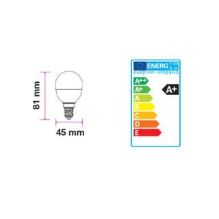 V-Tac VT-246 Lampadina LED E27 5,5W Miniglobo G45 - Disegno tecnico