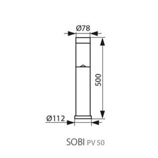 Kanlus Lampada da Terra LED Sobi PV 0,15W con Pannello Solare e Sensore Crepuscolare - Disegno Tecnico