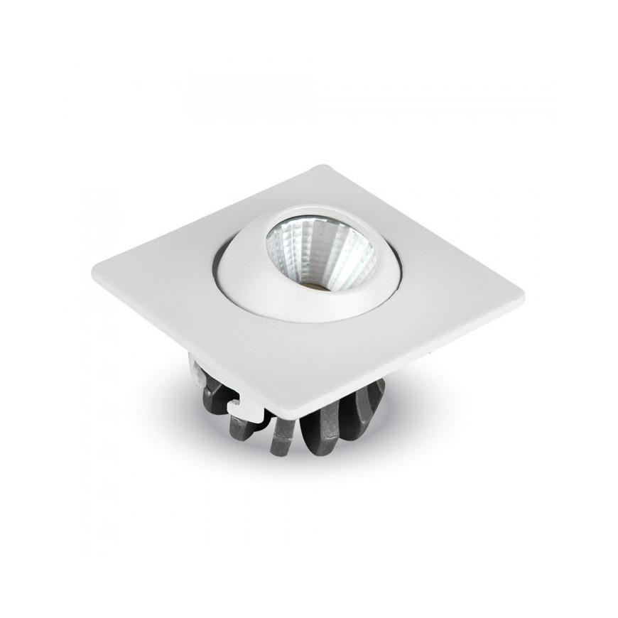 V-Tac VT-1133 SQ  Faretto Downlight LED da Incasso 3W COB Quadrato con testina orientabile