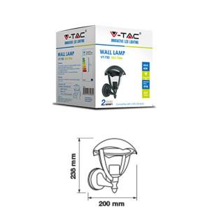V-TAC VT-730 Portalampada Da Giardino Wall LIGHT Da Muro per Lampadine E27 Colore Nero - Disegno Tecnico