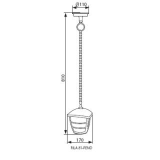 Kanlux RILA 81-PEND Portalampada Da Giardino Wall LIGHT Con Attacco A Soffitto per Lampadine E27 - Disegno Tecnico