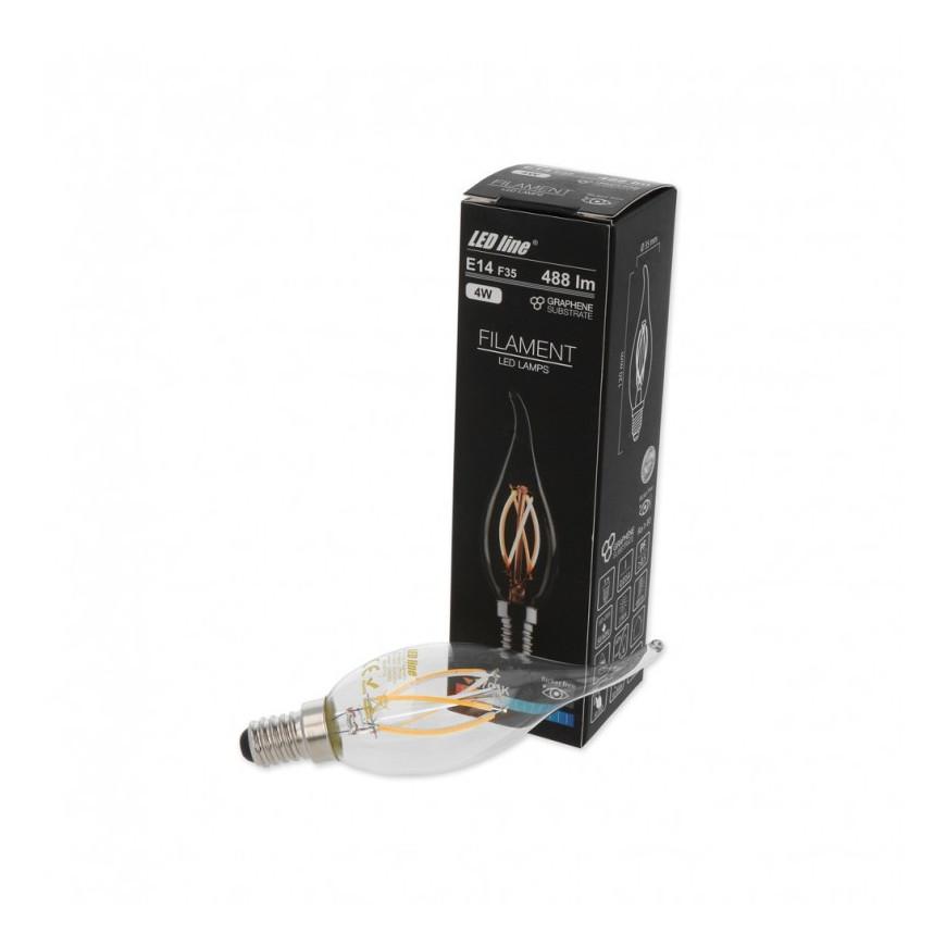 Led Line Lampadina LED E14 4W Candela Fiamma Filamento in Grafene
