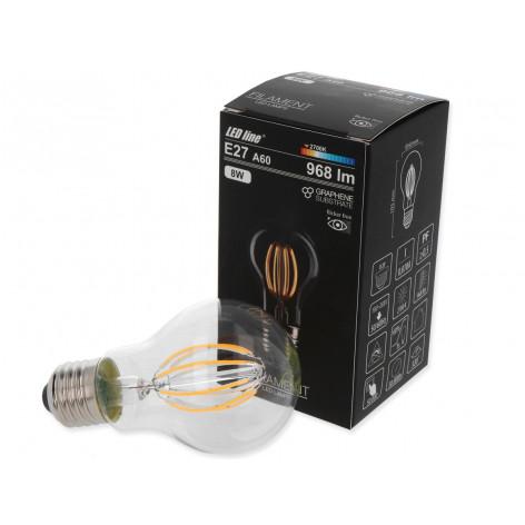 Lampadina LED E27 8W Bulbo A60 Filamento curvo in Grafene