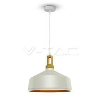 Lampadario in metallo e legno con portalampada a sospensione E27 bianco