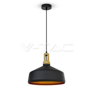 Lampadario in metallo e legno con portalampada a sospensione E27 nero