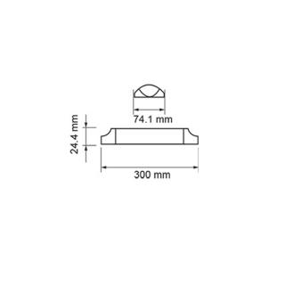 Disegno tecnico - V-Tac PRO VT-8-10 Tubo LED Plafoniera  Prismatico 10W 30cm con Chip Samsung