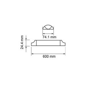 Disegno tecnico - V-TAC VT-8-20 Tubo LED Plafoniera Prismatico 20W 60cm con Chip Samsung