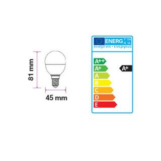 Disegno tecnico - V-TAC VT-1880 Lampadina LED E14 5,5W Miniglobo P45