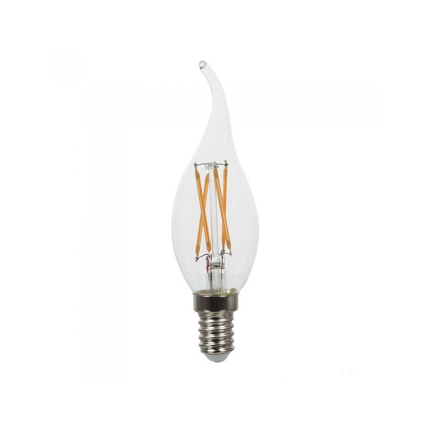 V-Tac VT-1997 Lampadina LED E14 4W Candela Fiamma Cross Filamento