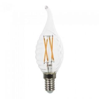 V-Tac VT-1985D Lampadina LED E14 4W Candela Fiamma Spirale Cross Filamento Dimmerabile