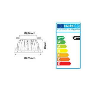 Disegno tecnico - V-Tac VT-26301 Faretto Downlight LED da Incasso 30W 3.600 lm COB Rotondo