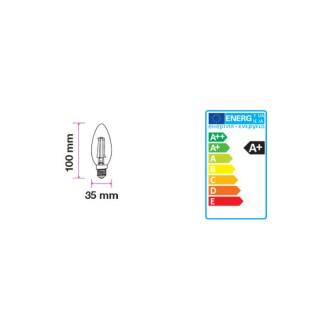 Disegno tecnico V-Tac PRO VT-245D Lampadina LED E14 4W Candela Filamento Dimmerabile con Chip LED Samsung