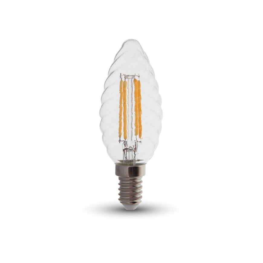 V-Tac PRO VT-274 Lampadina LED E14 4W Candela Spirale Filamento con Chip LED Samsung