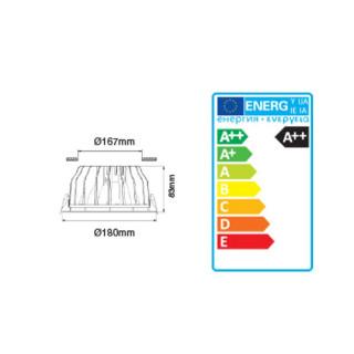 Disegno tecnico -V-Tac VT-26201 Faretto Downlight LED da Incasso 20W 2.400 lm COB Rotondo