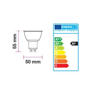 Disegno tecnico - V-TAC PRO VT-247D Faretto LED GU10 6,5W SMD Spotlight Dimmerabile 110° con Chip Samsung