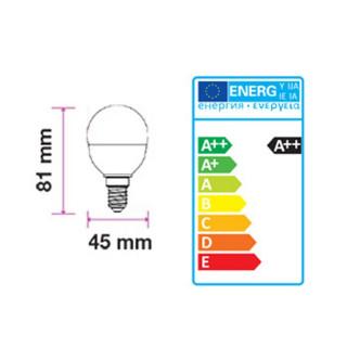 Disegno tecnico - V-Tac PRO VT-225 Lampadina LED E14 4,5W Miniglobo P45 Con Chip LED Samsung