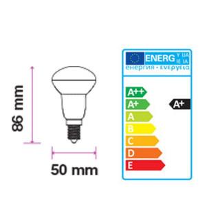 Disegno tecnico - V-TAC PRO VT-250 Lampadina LED E14 6W Reflector R50 con Chip LED Samsung