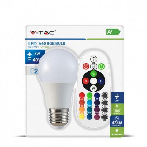 V-Tac VT-2022 Lampadina LED E27 6W Bulbo A60 RGB+W Dimmerabile con Telecomando