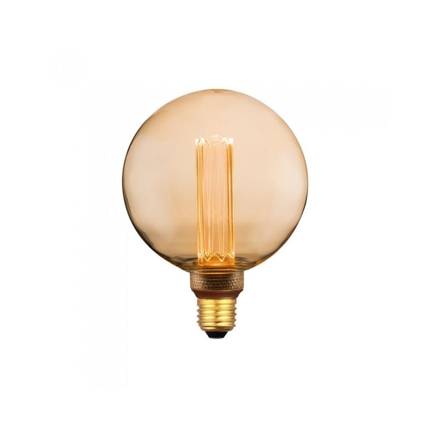 Lampadina LED E27 4W Globo Candela Filamento Ambrata Con Incisioni Laser