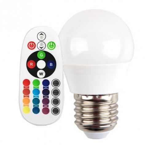 V-Tac VT-2224 Lampadina LED E27 3.5W Miniglobo G45 RGB+W Dimmerabile con Telecomado