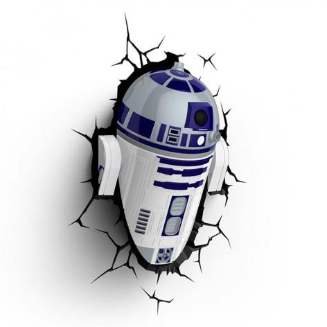 Lampada LED 3D Star Wars R2-D2 da parete a batteria